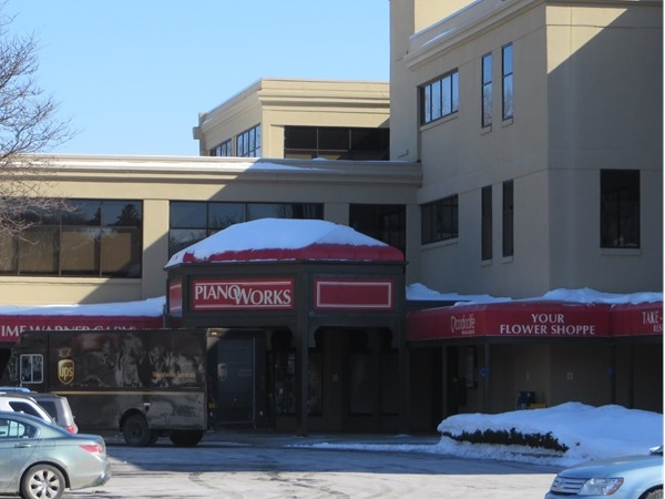 Entrance to shops and offices in the Piano Works Mall in East Rochester