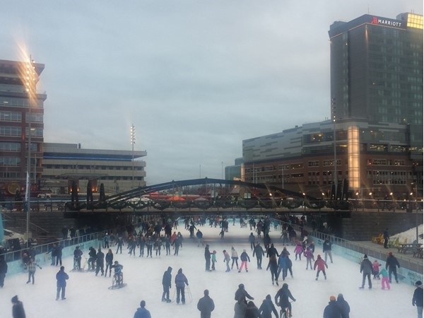 Canalside: Learn to skate or relax in the heated tents with a cup of Tim Horton's coffee