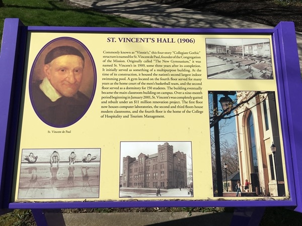 St Vincent's Hall plaque at Niagara University