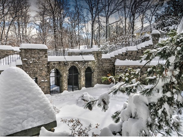 The sunken garden behind Warner Castle filled with snow after a monster snowstorm