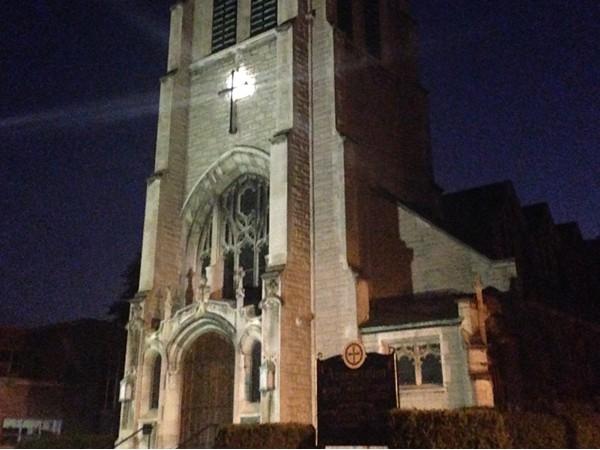 Annunciation Greek Orthodox Church at night