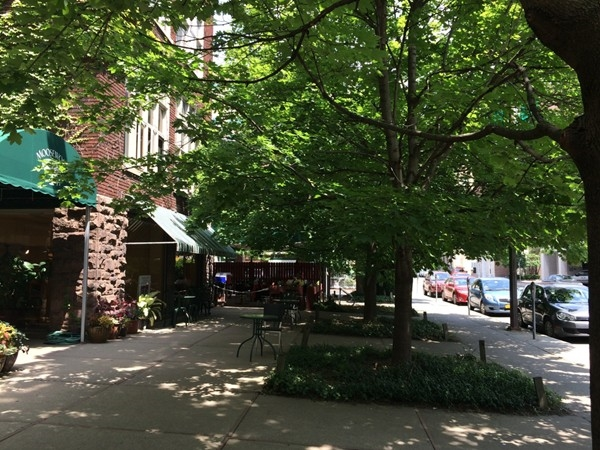On the north side of the Commons - on Buffalo Street.  Great shaded areas, nice place to meet!