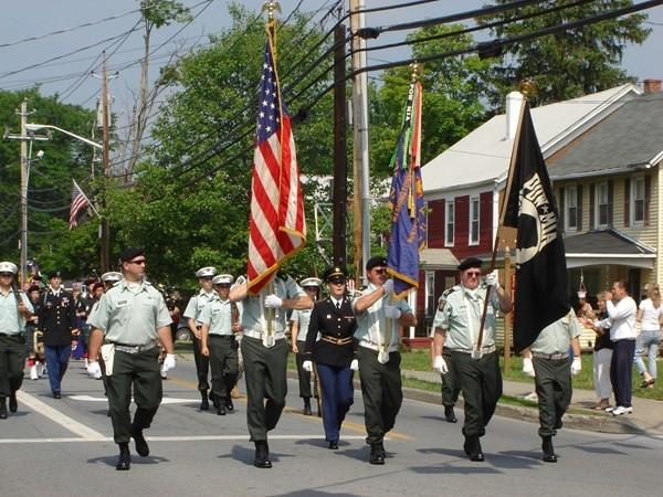 Memorial Day Parade Color Guard of Servicemen