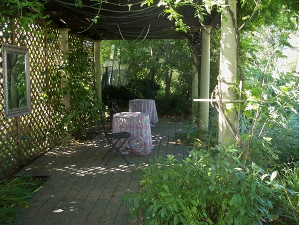 Secluded garden area with vines and trellis at the Senator's Mansion