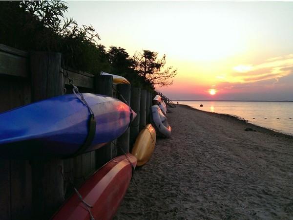 North Sea Beach sunset with Robins Island