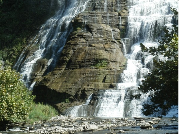 The beautiful Ithaca Falls is directly behind the Ithaca High School
