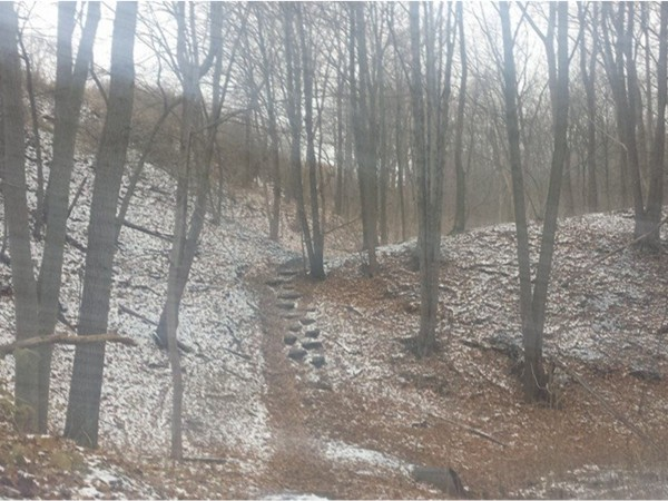 Two miles of eight foot wide trails off of Penfield Road-Trail map