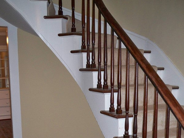 Beautiful curved staircase in an 1880's home on Bristol Street in Canandaigua