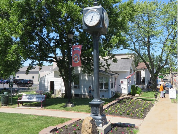 Town clock in Veterans Park on North Avenue in the Village of Webster