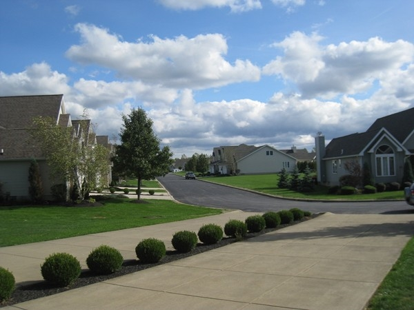 Street view of Fairway Greens on Grand Island. Many homes back up to the River Oaks Golf Course.