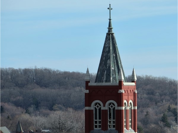 Steeple of a church in downtown Rochester from the rooftop of the South Avenue Garage