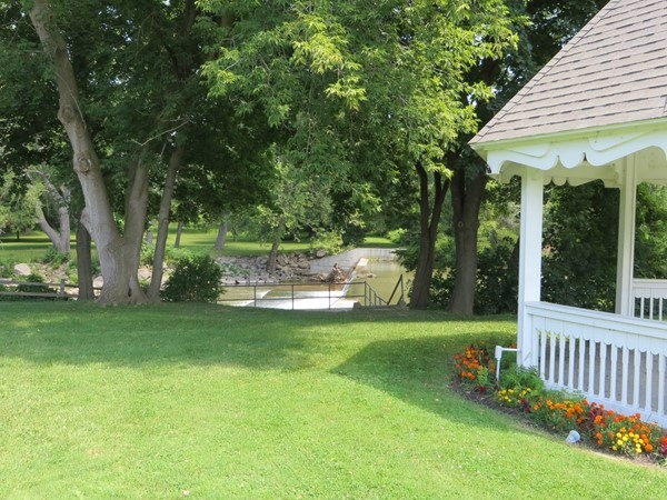 Beyond the gazebo is the lookout landing by the falls in Veterans Memorial Park in Rush