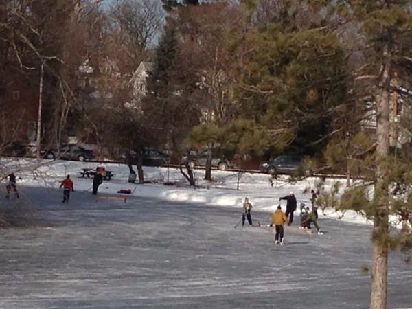 Game of outdoor ice hockey, anyone?