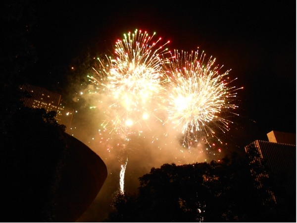 """4th of July fireworks at the Plaza.  (The building on the left front is known as """"The Egg"""")"""