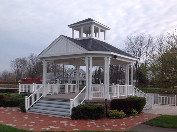 Our village gazebo - great for wedding photos and beautifully decorated at Christmas!