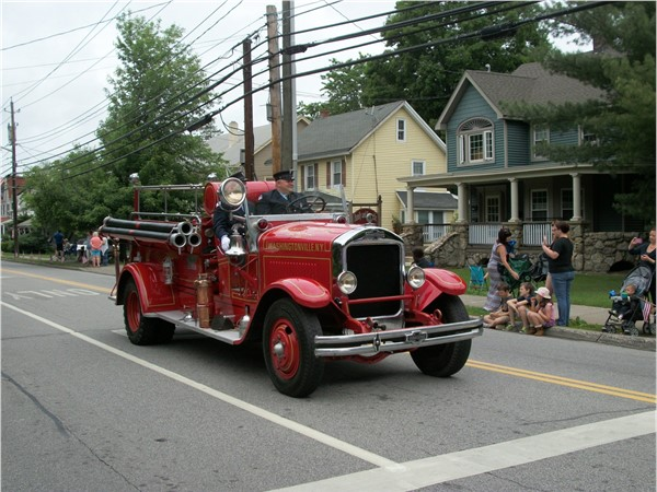 Old timey fire truck joins in the fun