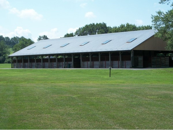 Barn and show grounds for local horse shows at Thomas Bull Park