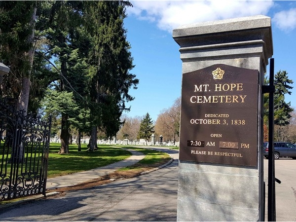 Mt Hope Cemetery has over 350,000 graves. Many figures of historical importance are buried here
