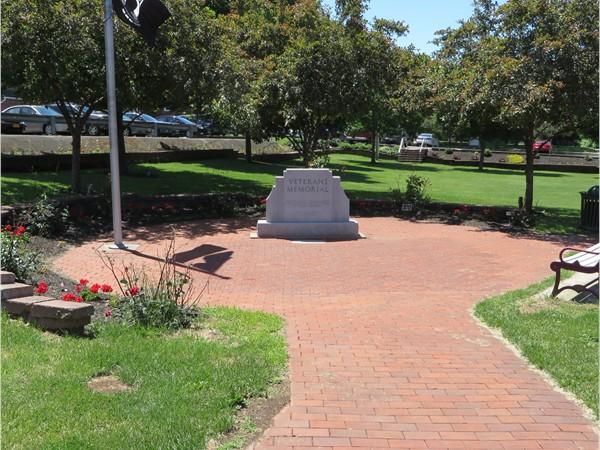 Beautiful brick sidewalk in Veterans Park in the Village of Webster