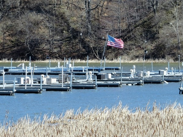 Boat slips of South Pointe Marina on Irondequoit Bay in early spring