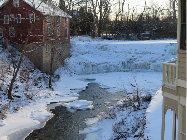 The frozen waterfalls in Honeoye Falls that were once used to power the mills