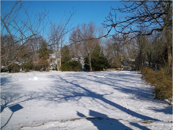 Winter picture of the small park at Forest Lawn off Lake Road near Shipbuilders Creek