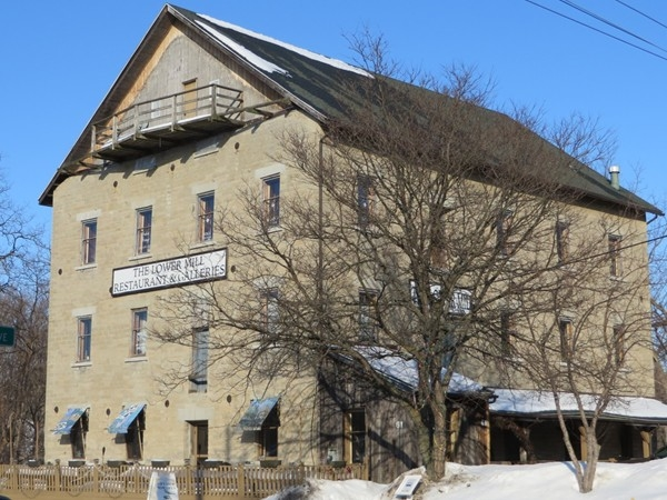 Historic stone building was probably a mill at one time, now shops by Honeoye Falls Creek