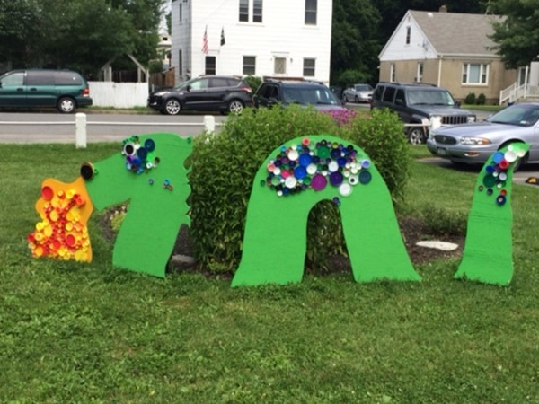 Colorful dragon adorns playground area of Wallkill Public Library