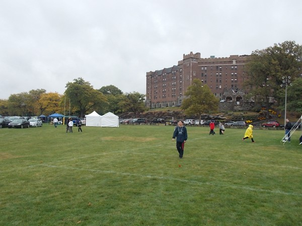 Tailgating at Buffalo Soldier Field.  Hotel Thayer is in the background