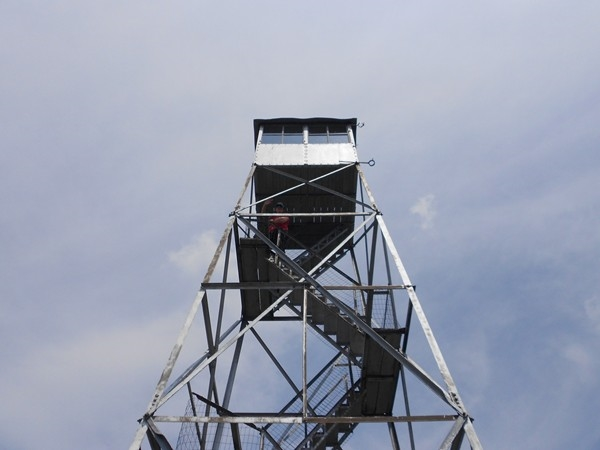 Climb up the Fire Tower for amazing views when you reach the summit, Poke-O-Moonshine Mountain
