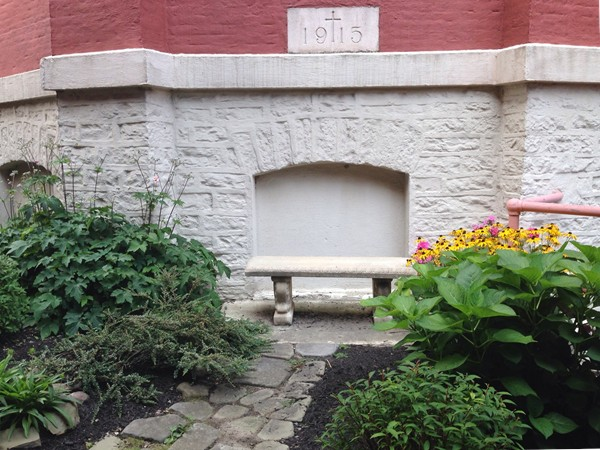 Peaceful spot on the grounds of St. Mary's Church in downtown Rochester