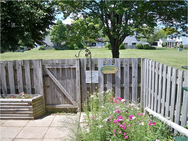 Patio for a ranch townhouse backing to the green space at Summit Knolls in Webster