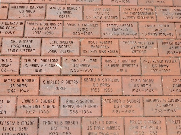 Names of the Webster Veterans in the bricks at the Veterans Park in the Village of Webster