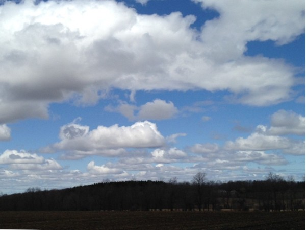 A puffy cloud kind of day on Ridge Rd in Cazenovia, NY