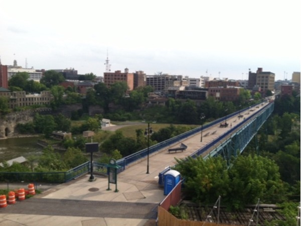 The Pedestrian Bridge at High Falls from the Genesee Brewery