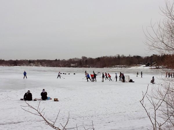 Playing ice hockey on Lake Ronkonkoma