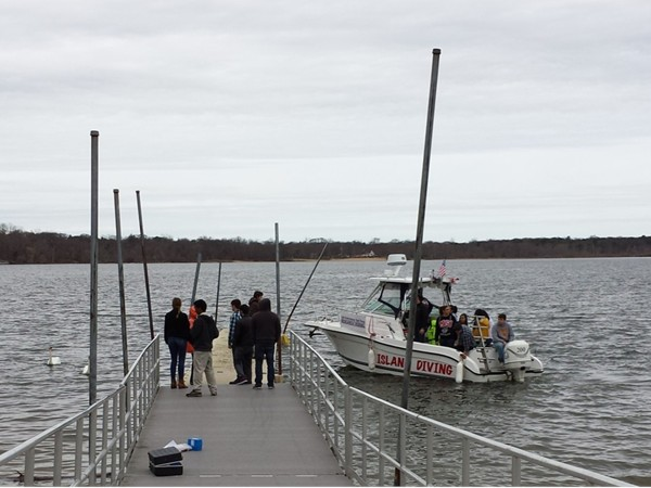 Students from Stony Brook University waiting for the diving boat