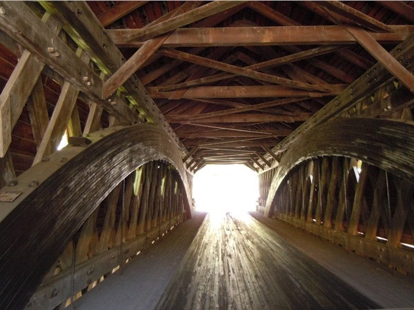 Inside the covered bridge in Newfield - One lane traffic!!
