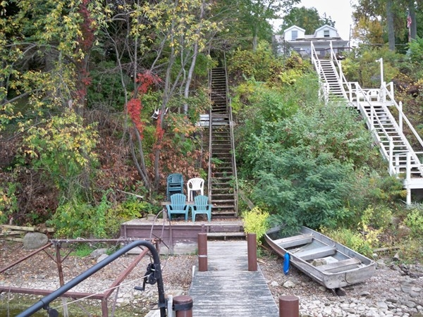 Many of the homes on Port Bay have a large number of stairs to the dock and water