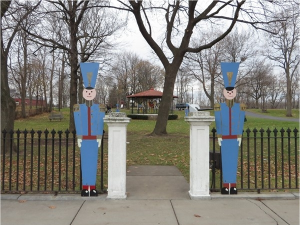 Park in the Village of Palmyra with Holiday props
