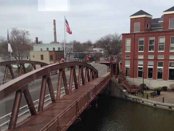Historic lift bridge on Main Street in Village of Fairport.  Constructed in 1913-1914.