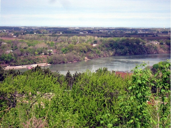 From atop the escarment is a beautiful view of the lower Niagara River and Canada