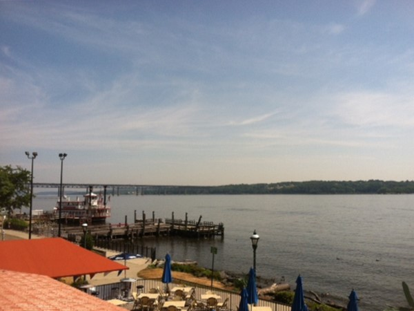 Rooftop view of Newburgh waterfront with paddle-wheeler in background
