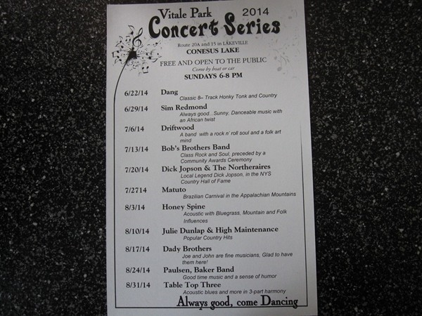2014 Concert Series at Vitale Park
