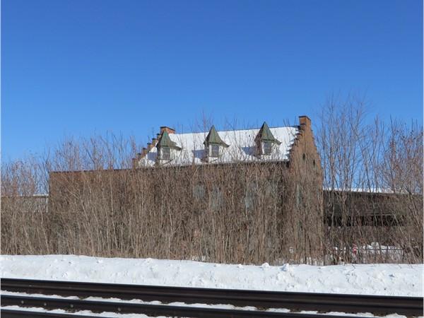 Historic car shops building across the tracks in East Rochester where boxcars were built
