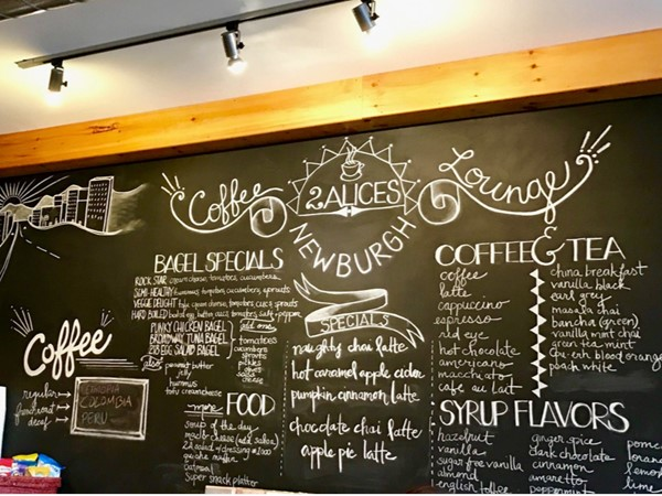 Plenty of choices for coffee or tea at 2 Alices in the City of Newburgh
