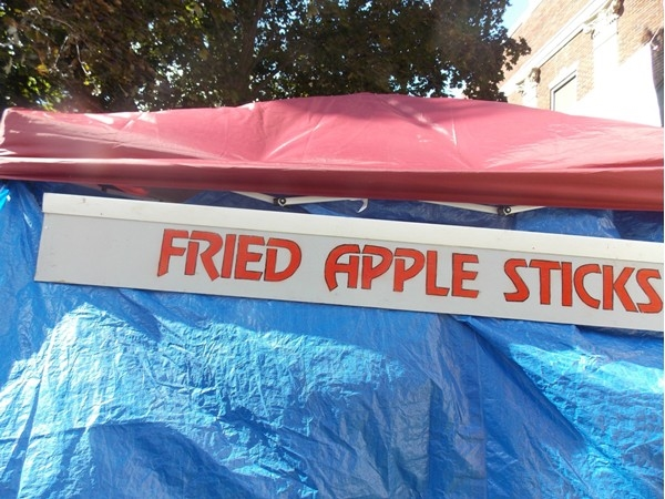 Fried apples on a stick