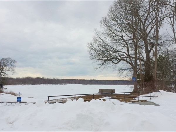 After the snow storm. A look at the snow covered Lake Ronkonkoma