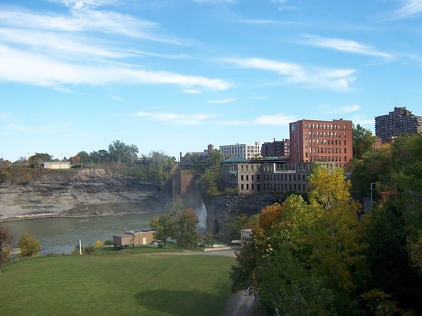 View of the High Falls and buildings that were once used for flour mills