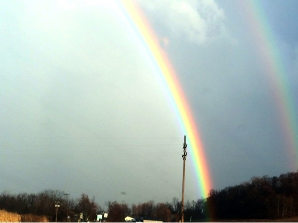 The end of a rainbow near Wake Robin Farm in Jordan, NY. Unfortunately, no pot of gold was found!